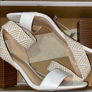 white heels w elastic ankle loop